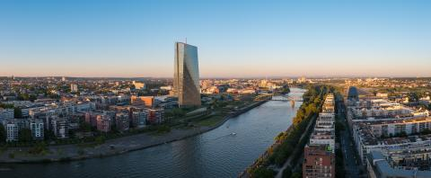 Panorama of Frankfurt with EZB European Central Bank at Sunset- Stock Photo or Stock Video of rcfotostock | RC-Photo-Stock
