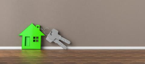 Panorama of keys with green house leaning on wall as mortgage fi- Stock Photo or Stock Video of rcfotostock   RC-Photo-Stock