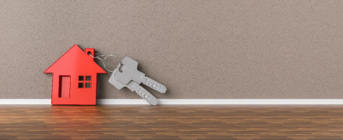 Panorama of keys with house leaning on wall as mortgage financing concept, copyspace for your individual text.- Stock Photo or Stock Video of rcfotostock | RC-Photo-Stock