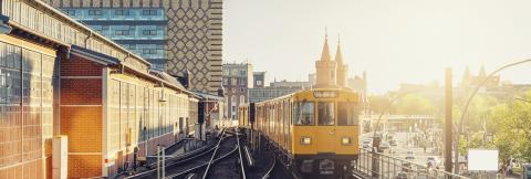 Panoramic view of Berliner U-Bahn with Oberbaum Bridge in the background in golden evening light at sunset with retro vintage Instagram style hipster filter effect, Berlin Friedrichshain-Kreuzberg- Stock Photo or Stock Video of rcfotostock | RC-Photo-Stock