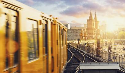 Panoramic view of Berliner U-Bahn with Oberbaum Bridge in the background in golden evening light at sunset with dramatic clouds, Berlin Friedrichshain-Kreuzberg : Stock Photo or Stock Video Download rcfotostock photos, images and assets rcfotostock | RC-Photo-Stock.: