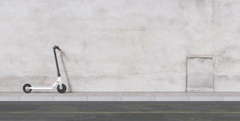 Panoramic view of e-scooter on wall for mobility in the city- Stock Photo or Stock Video of rcfotostock | RC-Photo-Stock