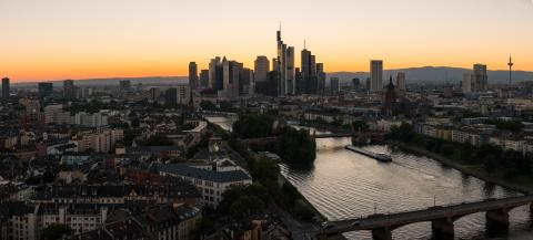 Panoramic view of Frankfurt am Main at Sunset, Germany - Stock Photo or Stock Video of rcfotostock | RC-Photo-Stock