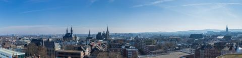 Panoramic view of imperial city Aachen in spring : Stock Photo or Stock Video Download rcfotostock photos, images and assets rcfotostock | RC-Photo-Stock.:
