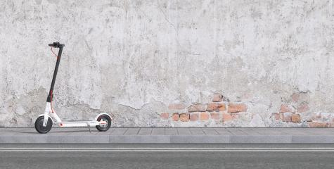 Panoramic view of white e-scooter parked on sidewalk for mobility in the city- Stock Photo or Stock Video of rcfotostock | RC-Photo-Stock
