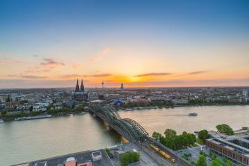 panoramic view on Cologne at sunset- Stock Photo or Stock Video of rcfotostock | RC-Photo-Stock