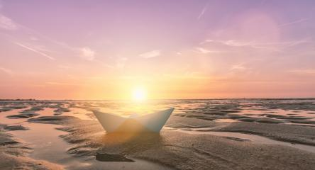 paper boat at the beach of baltic sea, romantic travel concept. copyspace for your individual text.- Stock Photo or Stock Video of rcfotostock | RC-Photo-Stock