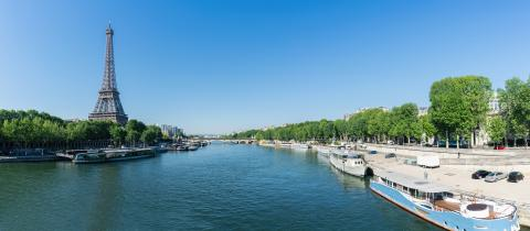 Paris Eiffel Tower and river Seine at summer in Paris, France. Eiffel Tower is one of the most iconic landmarks of Paris.- Stock Photo or Stock Video of rcfotostock | RC-Photo-Stock