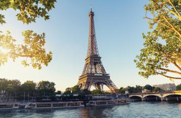 Paris Eiffel Tower and river Seine at sunset in Paris, France. Eiffel Tower is one of the most iconic landmarks of Paris.- Stock Photo or Stock Video of rcfotostock | RC-Photo-Stock