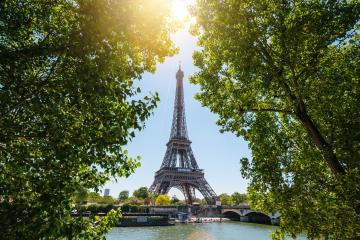 Paris Eiffel Tower and river Seine at sunset in Paris, France. Eiffel Tower is one of the most iconic landmarks of Paris. Postcard of Paris- Stock Photo or Stock Video of rcfotostock | RC-Photo-Stock