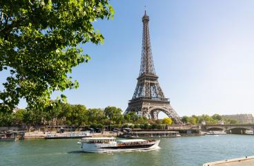 Paris Eiffel Tower and river Seine in Paris, France. Eiffel Tower is one of the most iconic landmarks of Paris.- Stock Photo or Stock Video of rcfotostock | RC-Photo-Stock