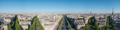 Paris, France. Panoramic view from Arc de Triomphe. Eiffel Tower and Avenue des Champs Elysees with blue sky copyspace for your individual text.- Stock Photo or Stock Video of rcfotostock | RC-Photo-Stock