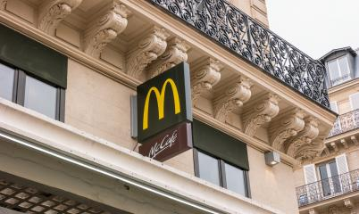 PARIS, FRANCE SEPTEMBER, 2017: McDonalds logo sign. It is the world's largest chain of hamburger fast food restaurants.- Stock Photo or Stock Video of rcfotostock | RC-Photo-Stock