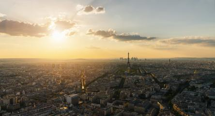 Paris Skyline panorama at sunset with Eiffel Tower - Stock Photo or Stock Video of rcfotostock | RC-Photo-Stock