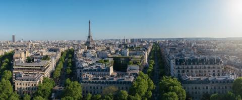 Paris Skyline Panorama with eiffel tower. View from Arch of Triumph- Stock Photo or Stock Video of rcfotostock | RC-Photo-Stock