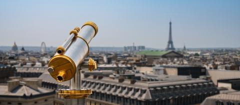 paris skyline with Telescope, france- Stock Photo or Stock Video of rcfotostock | RC-Photo-Stock