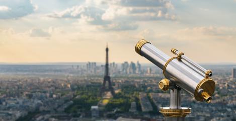 paris skyline with Telescope view- Stock Photo or Stock Video of rcfotostock | RC-Photo-Stock
