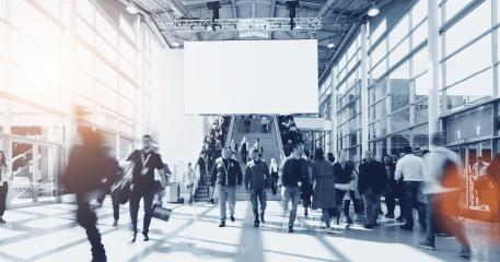 people at a trade show, including copy space banner - Stock Photo or Stock Video of rcfotostock | RC-Photo-Stock