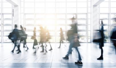 people Commuter Walking at Rush Hour on a modern tradeshow floor- Stock Photo or Stock Video of rcfotostock | RC-Photo-Stock