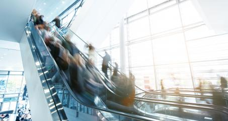 People in motion at escalators in a shopping mall : Stock Photo or Stock Video Download rcfotostock photos, images and assets rcfotostock | RC-Photo-Stock.: