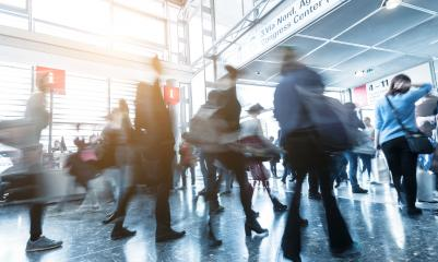 People rushing at a trade fair entrance- Stock Photo or Stock Video of rcfotostock   RC-Photo-Stock