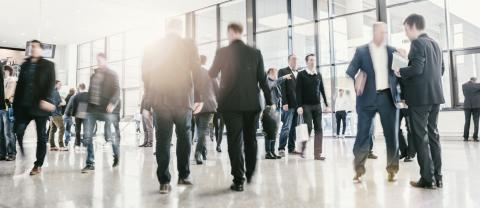People visit a trade show, humans unrecognizable, business concept image- Stock Photo or Stock Video of rcfotostock | RC-Photo-Stock