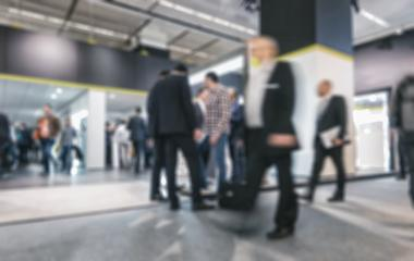 People walking on a trade show, generic background with a blur effect applied- Stock Photo or Stock Video of rcfotostock | RC-Photo-Stock