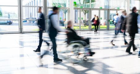 Person in a wheelchair in crowd as an inclusion concept image- Stock Photo or Stock Video of rcfotostock | RC-Photo-Stock