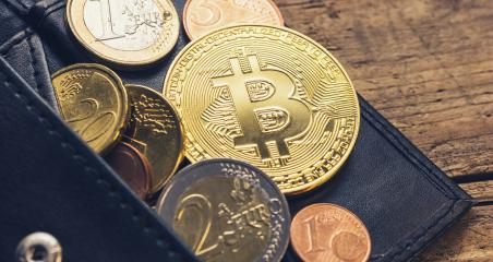 Personal Bitcoin Wallet with euro coins- Stock Photo or Stock Video of rcfotostock | RC-Photo-Stock