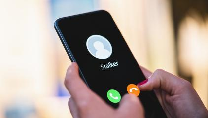 Phone call from a anonymous stalker. Stalking or bullying with phone concept. Stalker caller, scammer or stranger. Woman answering a incoming call. Ex boyfriend with fake identity.- Stock Photo or Stock Video of rcfotostock | RC-Photo-Stock
