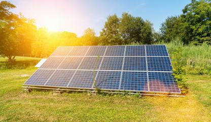 photovoltaic solar power panel on a field with sky, green clean Alternative power energy concept.- Stock Photo or Stock Video of rcfotostock | RC-Photo-Stock