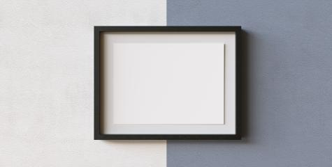 Picture frame with mat and white paper on wall as presentation and exhibition concept, copyspace for your individual text.- Stock Photo or Stock Video of rcfotostock | RC-Photo-Stock