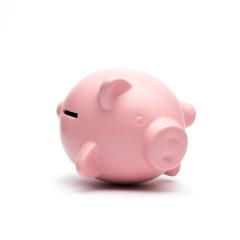 Piggy bank lying on the side isolated on white background- Stock Photo or Stock Video of rcfotostock | RC-Photo-Stock