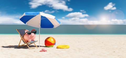 Piggy Bank sunglasses in a beach chair on the Beach with umbrella - Holidays In Economic - Stock Photo or Stock Video of rcfotostock | RC-Photo-Stock