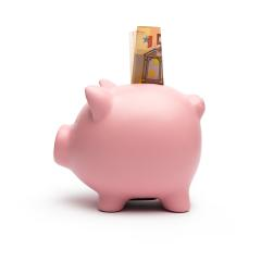 Piggy bank with 50 euro on white background- Stock Photo or Stock Video of rcfotostock | RC-Photo-Stock
