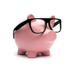 Piggy bank with black glasses- Stock Photo or Stock Video of rcfotostock | RC-Photo-Stock