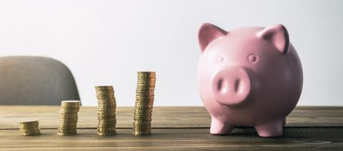 Piggy bank with coin stacks- Stock Photo or Stock Video of rcfotostock | RC-Photo-Stock