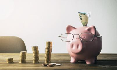 Piggy bank with coin stacks and euro note  - concept of increase  : Stock Photo or Stock Video Download rcfotostock photos, images and assets rcfotostock | RC-Photo-Stock.:
