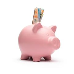 Piggy bank with different euro notes on white background- Stock Photo or Stock Video of rcfotostock | RC-Photo-Stock