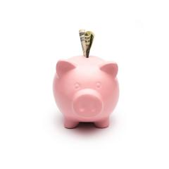 Piggy bank with dollar note : Stock Photo or Stock Video Download rcfotostock photos, images and assets rcfotostock | RC-Photo-Stock.: