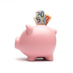 Piggy Bank with euro note on white background- Stock Photo or Stock Video of rcfotostock | RC-Photo-Stock