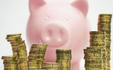 Piggy Bank with stacked coins- Stock Photo or Stock Video of rcfotostock | RC-Photo-Stock