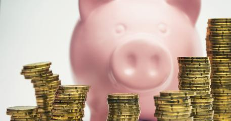 Piggy Bank with stacked euro coins- Stock Photo or Stock Video of rcfotostock | RC-Photo-Stock
