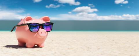 Piggy Bank With Sunglasses On The Beach Holiday. copyspace for your individual text.- Stock Photo or Stock Video of rcfotostock | RC-Photo-Stock