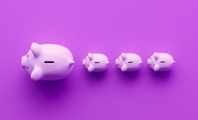 piggy banks in a row on a purple background, investment and development concept image : Stock Photo or Stock Video Download rcfotostock photos, images and assets rcfotostock | RC-Photo-Stock.:
