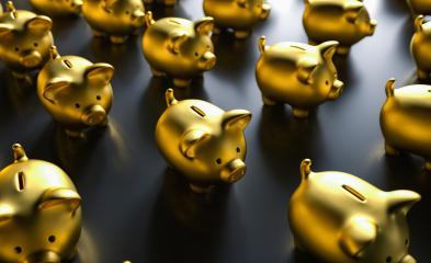 Piggy banks in gold - Stock Photo or Stock Video of rcfotostock | RC-Photo-Stock