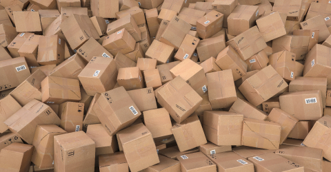 Pile of brown cardboard boxes background header, logistics and delivery concept image- Stock Photo or Stock Video of rcfotostock | RC-Photo-Stock