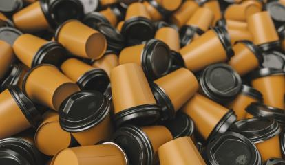 pile of empty brown to go coffee cups- Stock Photo or Stock Video of rcfotostock | RC-Photo-Stock