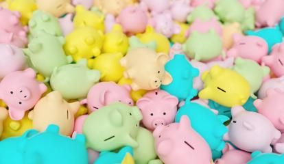 pile of pastel piggy banks, investment and development concept- Stock Photo or Stock Video of rcfotostock | RC-Photo-Stock