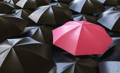 Pink umbrella between black ones- Stock Photo or Stock Video of rcfotostock | RC-Photo-Stock